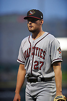 Quad Cities River Bandits starting pitcher Matt Ruppenthal (27) walks off the field between innings of a Midwest League game against the Fort Wayne TinCaps at Parkview Field on May 3, 2019 in Fort Wayne, Indiana. Quad Cities defeated Fort Wayne 4-3. (Zachary Lucy/Four Seam Images)