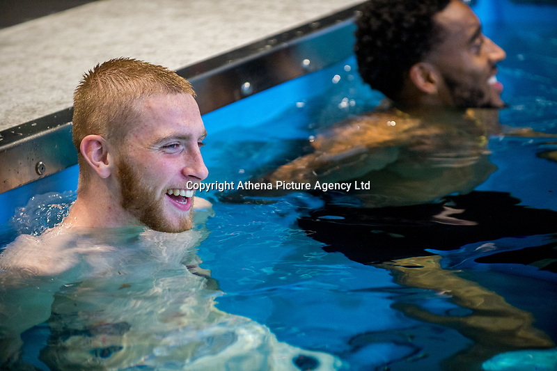 Oliver McBurnie exercises in the pool during the Swansea City training session at The Fairwood training Ground, Swansea, Wales, UK. Thursday 16 November 2017