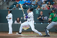 Craig Dedelow (26) of the Winston-Salem Dash follows through on a 2-run home run against the Down East Wood Ducks at BB&T Ballpark on May 10, 2019 in Winston-Salem, North Carolina. The Wood Ducks defeated the Dash 9-2. (Brian Westerholt/Four Seam Images)