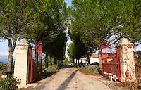 Chateau St Jean d'Aumieres, Gignac village. Terrasses de Larzac. Languedoc. The gate. France. Europe. Gate post.