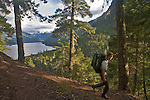 Hiker, Little Beaver trail, North Cascades National Park, wilderness, Ross Lake National Recreation Area, Cascade Mountains, Washington State,.Pacific Northwest, Scott McCredie, released,.