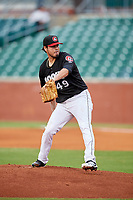 Chattanooga Lookouts starting pitcher Omar Bencomo (49) delivers a pitch during a game against the Jackson Generals on May 9, 2018 at AT&T Field in Chattanooga, Tennessee.  Chattanooga defeated Jackson 4-2.  (Mike Janes/Four Seam Images)