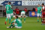 17.10.2020, Schwarzwald Stadion, Freiburg, GER, 1.FBL, SC Freiburg vs SV Werder Bremen<br /> <br /> im Bild / picture shows<br /> Ein entäuschter Josh Sargent (Bremen), Davie Selke (Bremen), Maximilian Eggestein (Bremen), Christian Groß (Bremen)<br /> <br /> Foto © nordphoto / Bratic<br /> <br /> DFL REGULATIONS PROHIBIT ANY USE OF PHOTOGRAPHS AS IMAGE SEQUENCES AND/OR QUASI-VIDEO.