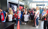 Los Angeles, Ca. - April 7, 2019: The U.S. Women's National soccer team vs the Belgium National team in a friendly at the Banc of California Stadium. Final score, U.S. 6, Belgium 0.