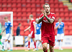 St Johnstone v Aberdeen…15.09.18…   McDiarmid Park     SPFL<br />Stevie May applauds the dons fans as he is substituted<br />Picture by Graeme Hart. <br />Copyright Perthshire Picture Agency<br />Tel: 01738 623350  Mobile: 07990 594431