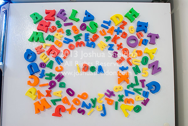 Word Idea in magnets on refrigerator