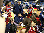 Liberty Head Coach Chad Kapanui, center, talks to the team during a time out in a game against Manogue in the NIAA Division I state basketball tournament in Reno, Nev. on Thursday, Feb. 25, 2016. Liberty won 59-53. Cathleen Allison/Las Vegas Review-Journal