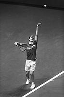 Rotterdam, The Netherlands, 4 march  2021, ABNAMRO World Tennis Tournament, Ahoy, First round match: Hubert Hukacz (POL) Stefanos Tsitsipas (GRE).<br /> Photo: www.tennisimages.com/