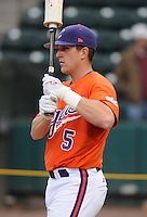 Outfielder Joe Costigan (5) of the Clemson Tigers prior to a game against the South Carolina Gamecocks on Tuesday, March 8, 2011, at Fluor Field in Greenville, S.C.  Photo by Tom Priddy / Four Seam Images