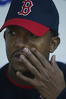 Pedro Martinez of the Boston Red Sox during a 2003 season MLB game at Angel Stadium in Anaheim, California. (Larry Goren/Four Seam Images)