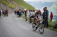 Thomas De Gendt (BEL/Lotto Soudal) in the final kilometers up the final climb of the day; the Col du Portet (HC/2215m)<br /> <br /> Stage 17 from Muret to Saint-Lary-Soulan (Col du Portet)(178km)<br /> 108th Tour de France 2021 (2.UWT)<br /> <br /> ©kramon