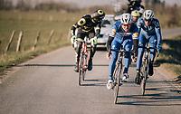surviving trio with Philippe Gilbert (BEL/Quick Step floors) leading<br /> <br /> 50th GP Samyn 2018<br /> Quaregnon > Dour: 200km (BELGIUM)