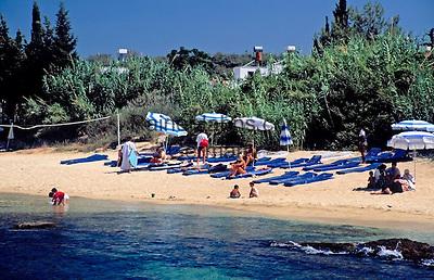 Turkey, Province Antalya, Side: holiday resort and harbour at Mediterranean Sea, Club Melas: beach