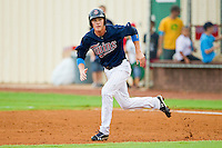 Max Kepler #23 of the Elizabethton Twins takes off for second base during the Appalachian League game against the Bluefield Blue Jays at Joe O'Brien Field on July 14, 2012 in Elizabethton, Tennessee.  The Twins defeated the Blue Jays 4-0.  (Brian Westerholt/Four Seam Images)