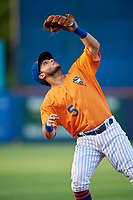 St. Lucie Mets third baseman Michael Paez (5) tracks a pop up during a game against the Daytona Tortugas on August 3, 2018 at First Data Field in Port St. Lucie, Florida.  Daytona defeated St. Lucie 3-2.  (Mike Janes/Four Seam Images)