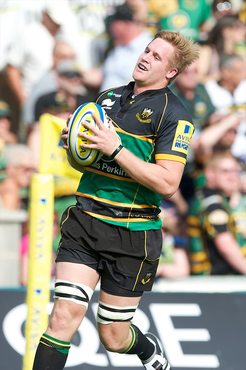 GJ van Velze of Northampton Saints pulls up just short of the tryline during the Aviva Premiership match between Northampton Saints and Exeter Chiefs at Franklin's Gardens on Sunday 9th September 2012 (Photo by Rob Munro)