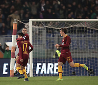 Football, Serie A: AS Roma - InterMilan, Olympic stadium, Rome, December 02, 2018. <br /> Roma's Cengiz Under (in front of) celebrates after scoring with his teammates Alessandro Florenzi (behind) and Nicolò Zaniolo (r) during the Italian Serie A football match between Roma and Inter at Rome's Olympic stadium, on December 02, 2018.<br /> UPDATE IMAGES PRESS/Isabella Bonotto