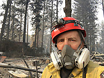 Slightly east of Edgewood Ln between Sunny Acres and La Grand View Paradise CA <br /> <br /> Chico Fire Captain Dave Main  on November 17, 2018. Three people died in a car on Edgewood Lane on November 8th. Photo courtesy, Dave Main.