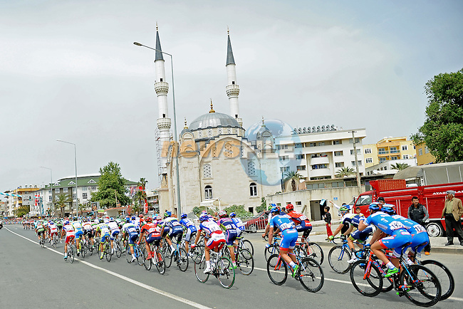 The peloton in action during Stage 1 of the 2015 Presidential Tour of Turkey running 182km from Alanya to Alanya. 26th April 2015.<br /> Photo: Tour of Turkey/Stiehl Photography/Mario Stiehl/www.newsfile.ie