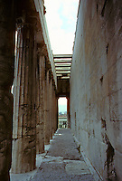 Athens: Temple of Hephaestus--Collonades. Stor of Attalus in background. Photo '82.