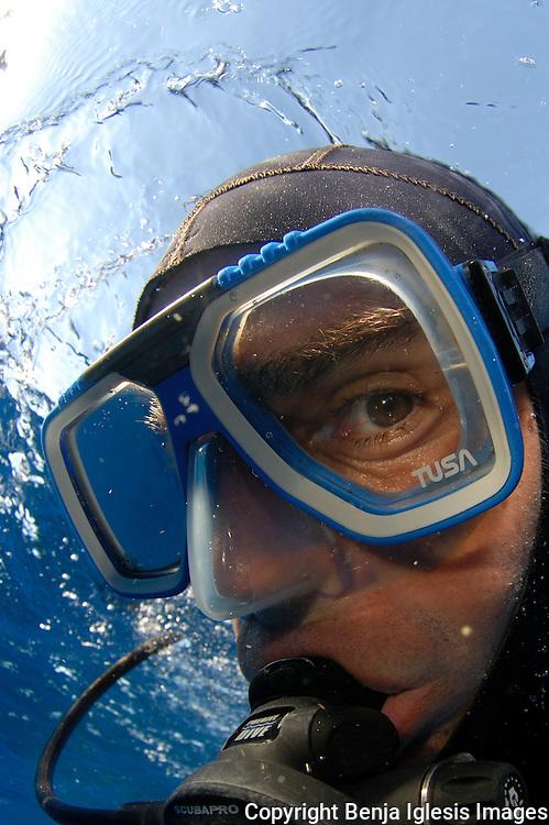 Portrait of diver with Tusa mask Molokini Maui hawaii.