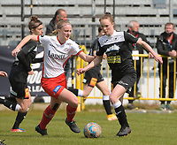 Lotte De Wilde (19) of Zulte Waregem and Loes Van Mullem (33) of Eendracht Aalst pictured during a female soccer game between Eendracht Aalst and SV Zulte Waregem on the fourth matchday of play off 2 of the 2020 - 2021 season of Belgian Scooore Womens Super League , Saturday 1 st of May 2021  in Aalst , Belgium . PHOTO SPORTPIX.BE | SPP | DIRK VUYLSTEKE