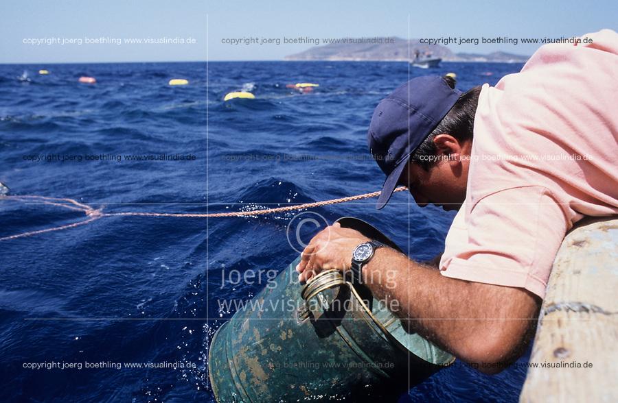 ITALY, Sicily, Egedian island Favignana, La Mattanza, traditional fishing of bluefin Tuna fish, watching for the Tuna