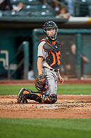 Garrett Stubbs (2) of the Fresno Grizzlies on defense against the Salt Lake Bees at Smith's Ballpark on September 3, 2017 in Salt Lake City, Utah. The Bees defeated the Grizzlies 10-8. (Stephen Smith/Four Seam Images)