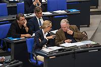 """30. Sitzung des Deutschen Bundestag am Freitag den 27. April 2018.<br /> Auf Antrag der rechtsnationalistischen """"Alternative fuer Deutschland"""", AfD, musste das Parlament ueber den Entwurf eines Gesetzes zur Aenderung Paragraph 130 des Strafgesetzbuchs (Volksverhetzung) diskutieren. Abgeordnete aller Fraktionen, ausser der Rechtsnationalisten, wiesen dies als Schritt zur Abschaffung des Paragraphen zurueck. <br /> Im Bild: Die Fraktionsvorsitzenden der AfD, Alice Weidel (links) und Alexander Gauland (rechts).<br /> 27.4.2018, Berlin<br /> Copyright: Christian-Ditsch.de<br /> [Inhaltsveraendernde Manipulation des Fotos nur nach ausdruecklicher Genehmigung des Fotografen. Vereinbarungen ueber Abtretung von Persoenlichkeitsrechten/Model Release der abgebildeten Person/Personen liegen nicht vor. NO MODEL RELEASE! Nur fuer Redaktionelle Zwecke. Don't publish without copyright Christian-Ditsch.de, Veroeffentlichung nur mit Fotografennennung, sowie gegen Honorar, MwSt. und Beleg. Konto: I N G - D i B a, IBAN DE58500105175400192269, BIC INGDDEFFXXX, Kontakt: post@christian-ditsch.de<br /> Bei der Bearbeitung der Dateiinformationen darf die Urheberkennzeichnung in den EXIF- und  IPTC-Daten nicht entfernt werden, diese sind in digitalen Medien nach §95c UrhG rechtlich geschuetzt. Der Urhebervermerk wird gemaess §13 UrhG verlangt.]"""