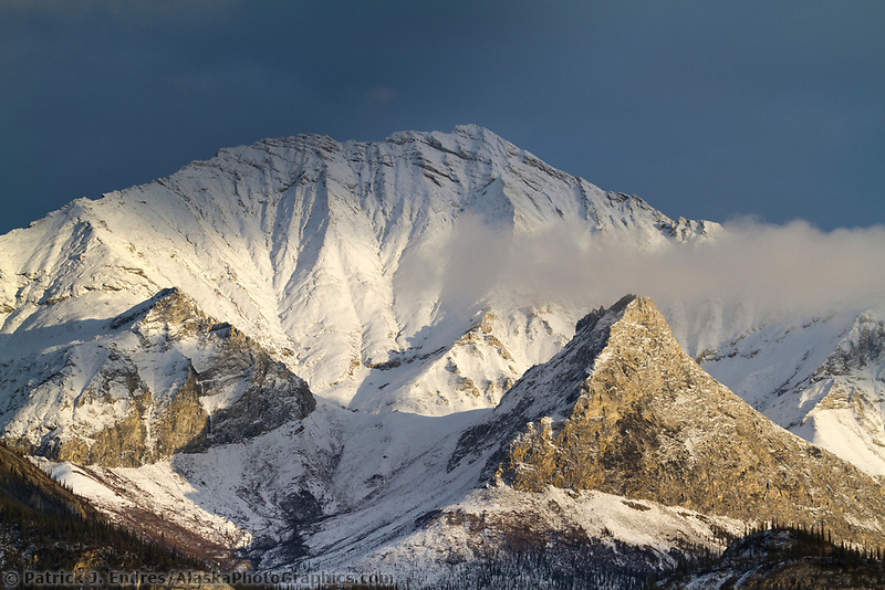 Sunset on the snow covered wiehl mountain of the Brooks Range, Arctic, Alaska