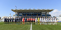 20190306 - LARNACA , CYPRUS : both team line ups pictured during a women's soccer game between Slovakia and Hungary , on Wednesday 6 th March 2019 at the Antonis Papadopoulos stadium in Larnaca , Cyprus . This last game for both teams which decides for places 11 and 12 of the Cyprus Womens Cup 2019 , a prestigious women soccer tournament as a preparation on the Uefa Women's Euro 2021 qualification duels. PHOTO SPORTPIX.BE | DAVID CATRY
