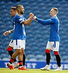 22.08.2020 Rangers v Kilmarnock: Ryan Kent celebrates his goal with fellow scorer Kemar Roofe