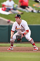 Springfield Cardinals third baseman Patrick Wisdom (35) during a game against the Frisco Rough Riders on June 1, 2014 at Hammons Field in Springfield, Missouri.  Springfield defeated Frisco 3-2.  (Mike Janes/Four Seam Images)