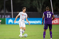 LAKE BUENA VISTA, FL - JULY 31: Eduard Atuesta #20 of LAFC dribbles the ball during a game between Orlando City SC and Los Angeles FC at ESPN Wide World of Sports on July 31, 2020 in Lake Buena Vista, Florida.