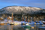 Winter view of the harbor in Camden, Maine, USA