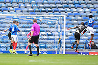 Ellis Harrison of Portsmouth right has a  header on target during Portsmouth vs Doncaster Rovers, Sky Bet EFL League 1 Football at Fratton Park on 17th October 2020