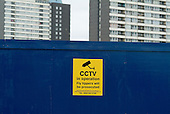 CCTV warning notice on derelict land surrounding Carpenters Estate in Stratford, London. The land is earmarked for development if London's bid for the 2012 Olympic Games is successful.