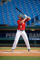 Hunter Elliott (19) of Tupelo High School in Tupelo, MS during the Perfect Game National Showcase at Hoover Metropolitan Stadium on June 20, 2020 in Hoover, Alabama. (Mike Janes/Four Seam Images)