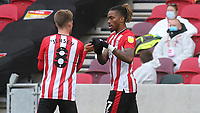 Ivan Toney celebrates scoring Brentford's second goal with Mathias Jensen during Brentford vs Preston North End, Sky Bet EFL Championship Football at the Brentford Community Stadium on 4th October 2020
