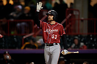 Altoona Curve Arden Pabst (53) congratulates Hunter Owen (not shown) after a home run during an Eastern League game against the Erie SeaWolves on June 3, 2019 at UPMC Park in Erie, Pennsylvania.  Altoona defeated Erie 9-8.  (Mike Janes/Four Seam Images)