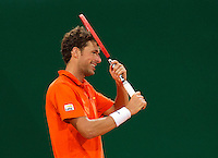 Austria, Kitzbühel, Juli 17, 2015, Tennis, Davis Cup, Second match between Robin Haase (NED and Andreas Haider-Maurer (AUT), pictured: Robin Haase reacts<br /> Photo: Tennisimages/Henk Koster