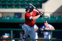 Fort Myers Miracle Trey Cabbage (26) bats during a Florida State League game against the Lakeland Flying Tigers on August 3, 2019 at Publix Field at Joker Marchant Stadium in Lakeland, Florida.  Lakeland defeated Fort Myers 4-3.  (Mike Janes/Four Seam Images)