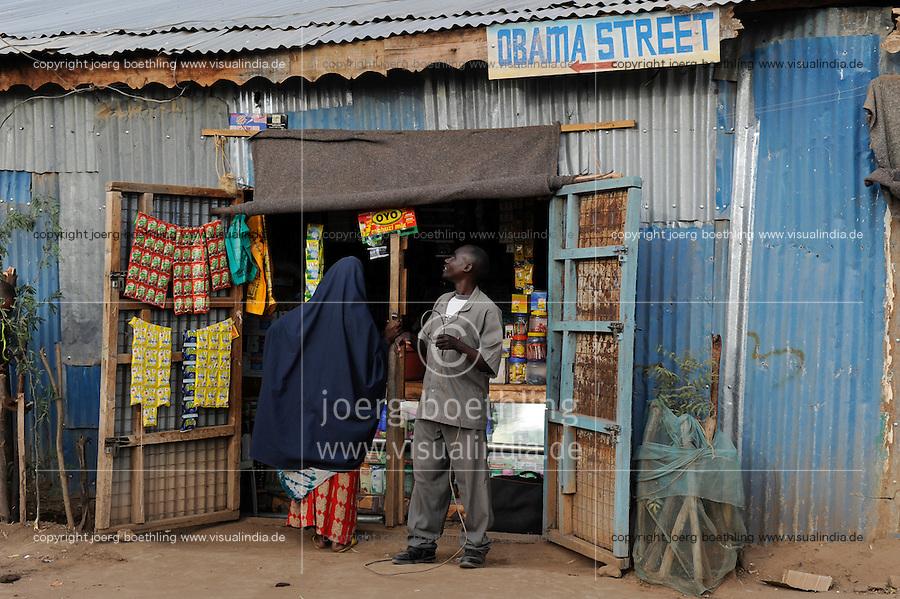 KENYA Turkana Region, UNHCR refugee camp Kakuma, where permanent 80.000 refugees from Somalia, Ethiopia, South Sudan are living, shop in Obama Street/ KENIA UNHCR Fluechtlingslager Kakuma in der Turkana Region , hier leben ca. 80.000 Fluechtlinge aus Somalia Sudan Aethiopien, Laden in der der Obama Street