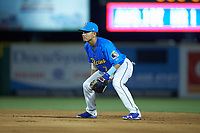 Myrtle Beach Pelicans second baseman Carlos Sepulveda (7) on defense against the Winston-Salem Dash at TicketReturn.com Field on May 16, 2019 in Myrtle Beach, South Carolina. The Dash defeated the Pelicans 6-0. (Brian Westerholt/Four Seam Images)