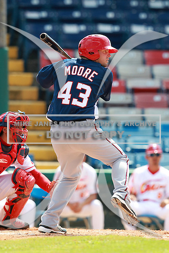 Washington Nationals minor league Tyler Moore (43) during a game vs. the Chinese National Team in an Instructional League game at Holman Stadium in Vero Beach, Florida September 30, 2010.   Photo By Mike Janes/Four Seam Images