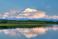 Sunset and reflection of Mt. McKinley at midnight.  Details of the landscape are preserved using HDR processing.  Reflection Pond, Denali National Park, Alaska.
