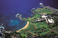 Aerial of the Kapalua bay hotel and surrounding beach and coastline