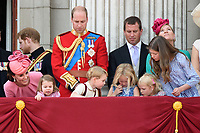 Catherine Duchess of Cambridge, Princess Charlotte, Prince George, Prince William, Savannah and Isla Phillips, Peter Phillips<br /> on the balcony of Buckingham Palace during Trooping the Colour on The Mall, London. <br /> <br /> <br /> ©Ash Knotek  D3283  17/06/2017