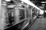 """The Chicago """"L"""" train arrives at a station in the Loop, downtown, Chicago, Ilinois"""