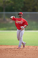 St. Louis Cardinals second baseman Eliezer Alvarez (22) throws to first base during a Minor League Spring Training game against the New York Mets on March 31, 2016 at Roger Dean Sports Complex in Jupiter, Florida.  (Mike Janes/Four Seam Images)